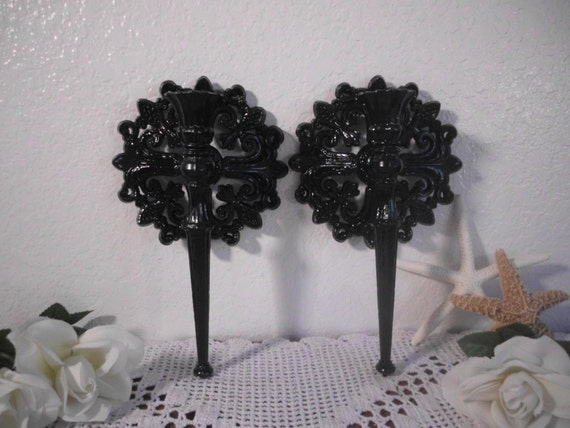 Glossy Black Halloween Taper Candle Holder Set Up Cycled Vintage Wall Sconce Pair Paris French Country Farmhouse Gothic Home Decor