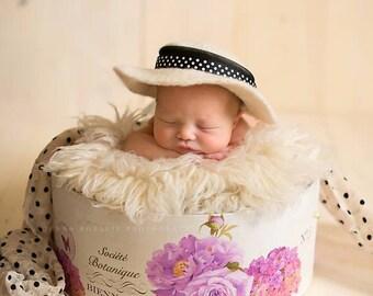 Felted wide brim hat  NEWBORN