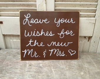 Distressed Brown and White Leave Your Wishes For The New Mr. and Mrs. Wedding Sign