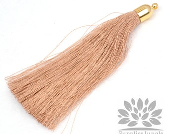 T008-G-BE// Gold Plated Round Cone Beige Tassel Pendant, 2pc
