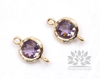 F145-G-AM// Gold Framed Amethyst Faceted Round Glass Connector, 2 pcs
