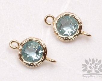 F145-G-AQ// Gold Framed Aquamarine Faceted Round Glass Connector, 2 pcs
