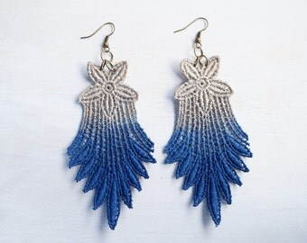 Lace Earrings Hand Painted - Navy Blue and Brown - Customizable Colors - Lace Fashion