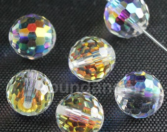 12 pcs Genuine 8mm VINTAGE Swarovski 5003 Disco Round Faceted Ball Crystal Bead CLEAR AB
