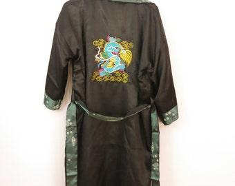 LET YOUR HAIR Down In Bangkok Thailand Satin Reversable Embroidered Dragon Smoking Jacket