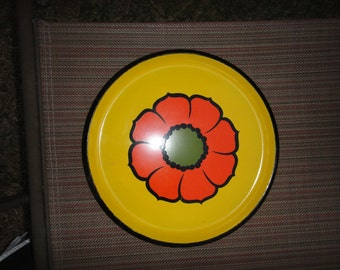 Vintage Ro Lo Round Serving Tray - Yellow with Orange Flower - Made in Japan