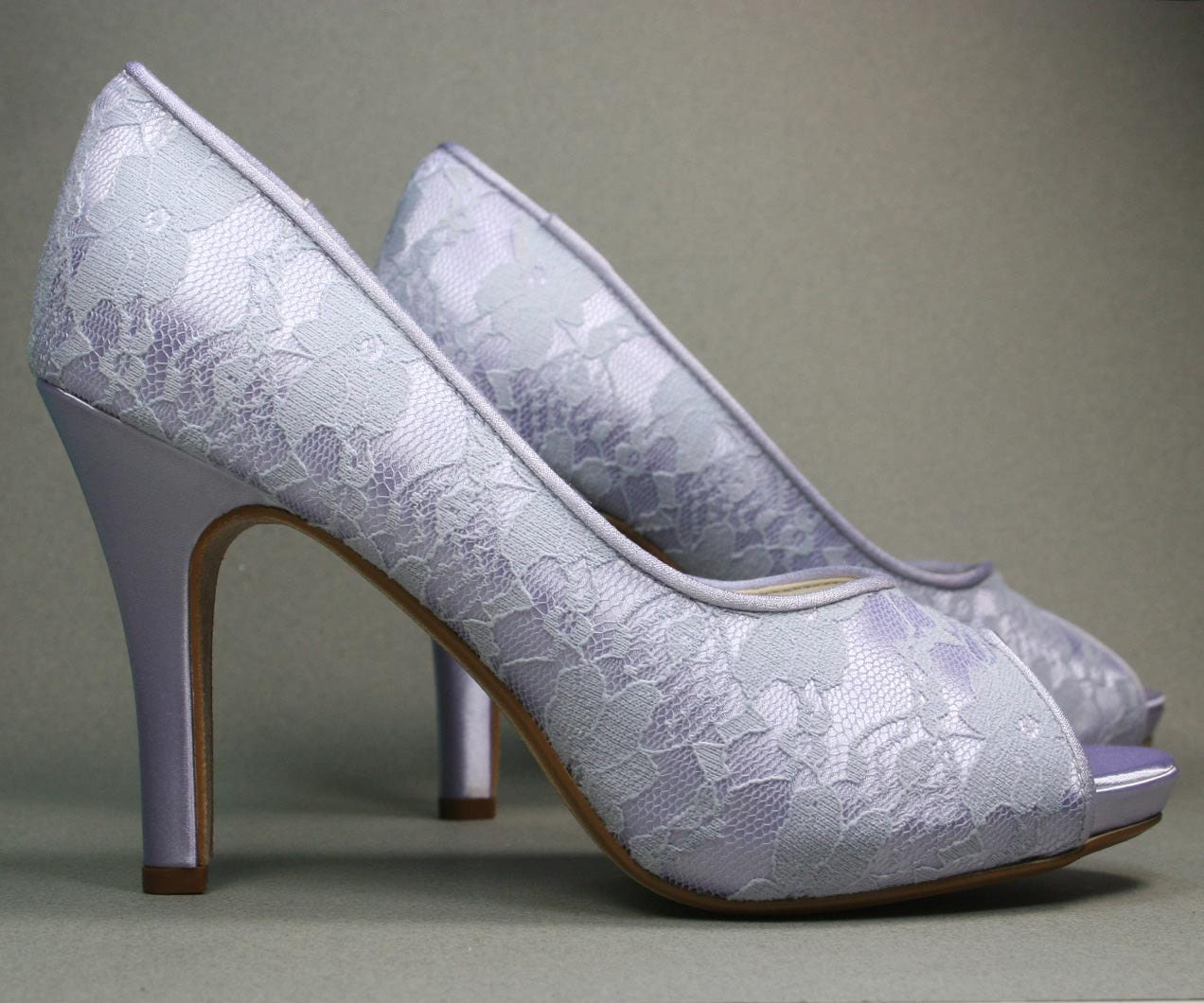 Wedding Shoes Lilac Peep Toe Wedding Shoes With Lace