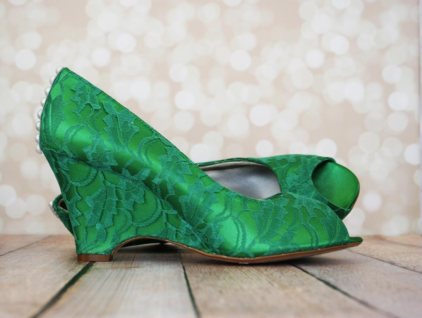 Wedding Shoes Emerald Green Peep Toe Wedges By DesignYourPedestal
