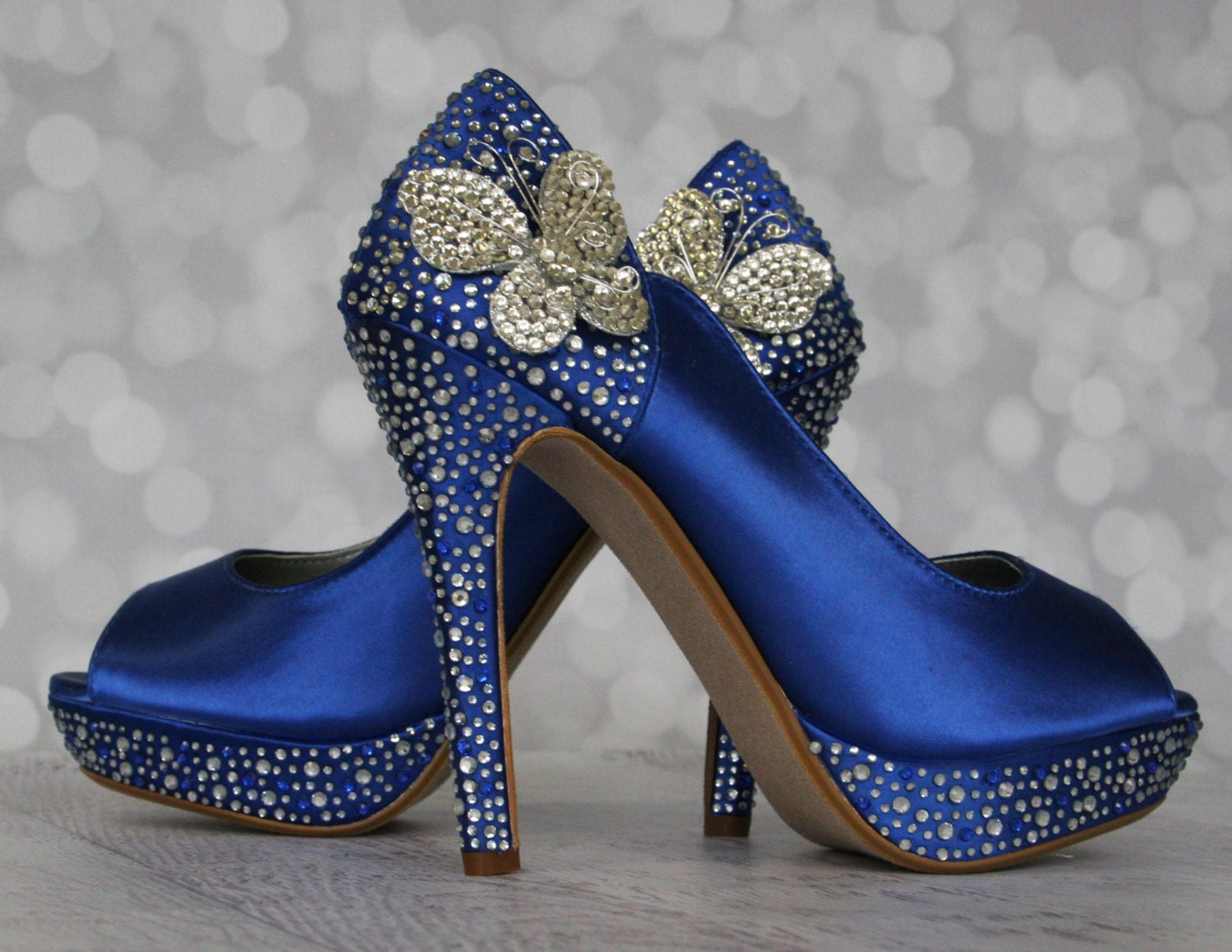 Wedding Shoes Royal Blue Peep Toe With Silver