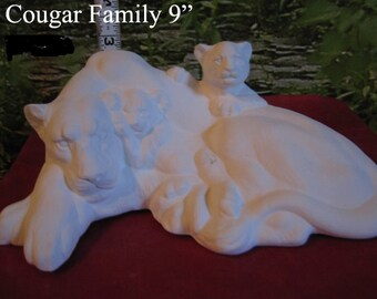 Awesome, Cat family, Mountain Lion and Cubs, Cougar, Panther, Wildlife Cat, American Wildlife, Ready to paint, Ceramic bisque, u-paint
