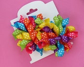 Hair Bow Set - Small Vibrant Rainbow Dot Korkers