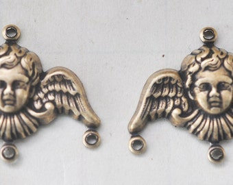 FOUR Angel Charm Holders, Brass Ox, 20 mm - Charms - Supplies by CalliopesAttic