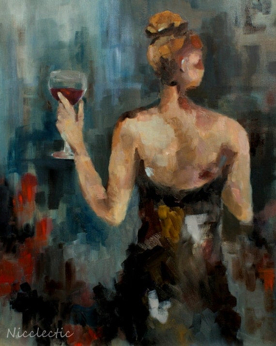 Woman With Wine Glass Little Black Dress Elegant Art
