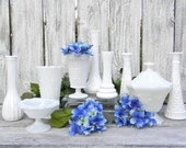 Milk Glass Collection of Vases and Containers, Wedding Vase Centerpiece, White Vases, Shabby Chic Decor
