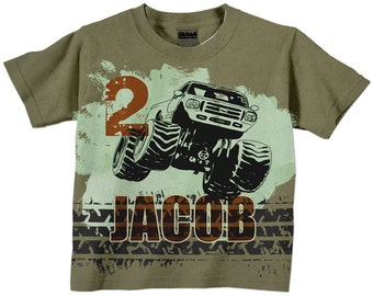 Monster Truck Number Shirt, Personalized Boys Olive and Rust Monster Truck Birthday T-Shirt, Top