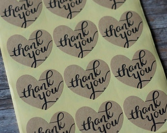 Script Font Thank You Kraft Paper Label Stickers - Love Heart Sticker Envelope Seals - 60 seals