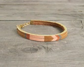 "Leather Bracelet in Tan with Pink and Copper | ""The Pecos Handpainted"""