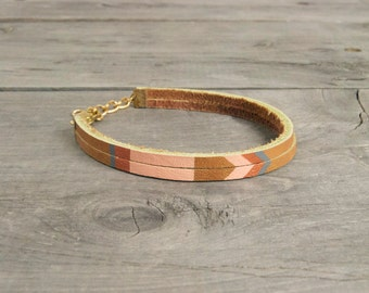 """Leather Bracelet in Tan with Pink and Copper 