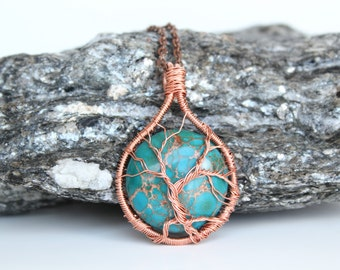 611A OOAK Teal Blue jasper tree of life copper wire wrapped pendant 30mm circle with copper highlights tree pendant for men or women