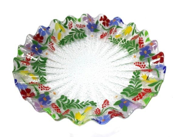 Fused glass floral platter. 11.5 inches in diameter. red, yellow, purple, green, orange, blue. sale 25% off
