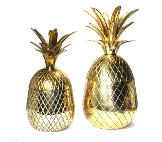 Brass Pineapple candle holder. box. large size. vintage. mid-century modern. ice bucket. 8 or 9 inch