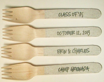 Personalized Rustic Birch Bark Paper Wooden Forks, Spoons or Knives - Set of 20