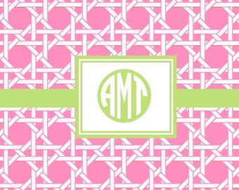72 Color Choices -Lattice Caning Monogram Placemat