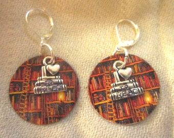 Paper Earrings - Library and I Love to Read