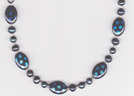Handmade Jewelry, Beaded Necklace, Polka Dot Necklace, Blue Necklace, Blue Spotted Oval Beaded Necklace, Freshwater Pearl Necklace, Beadwork