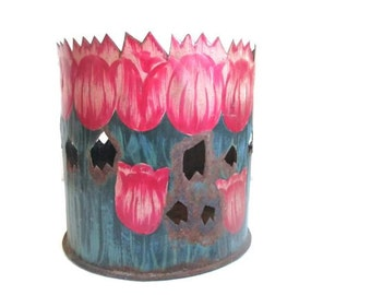 Vintage Flower Pot Tulip Plant Holder Metal Planter Home Decor