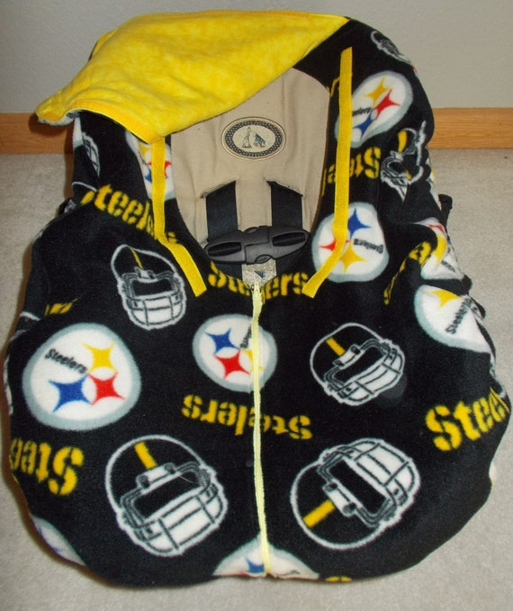 fleece infant car seat cover steelers football yellow flannel. Black Bedroom Furniture Sets. Home Design Ideas