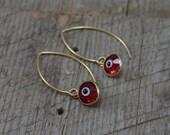 Red Swarovski Evil Eye Earrings on Gold Hooks