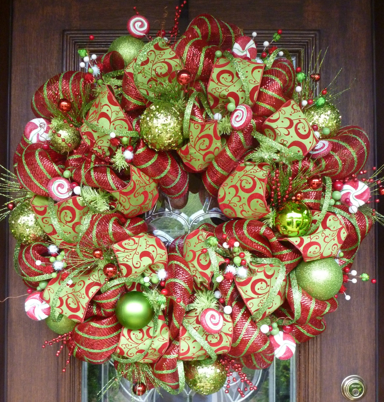 Deco Mesh Christmas Tree Wreath: 30 Deluxe Deco Mesh WHIMSICAL CHRISTMAS WREATH