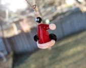 Santa Mickey Mouse Necklace Pendant Lampwork Sterling Silver Christmas Jewelry Santa Disney Beads