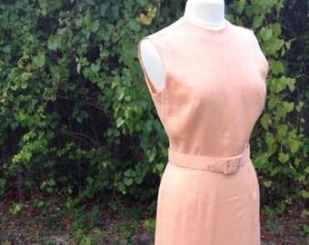 """Irish Linen Peach Dress L Bust Hip 38"""" Jerry Gilden Spectator Dress Mad Men Era"""