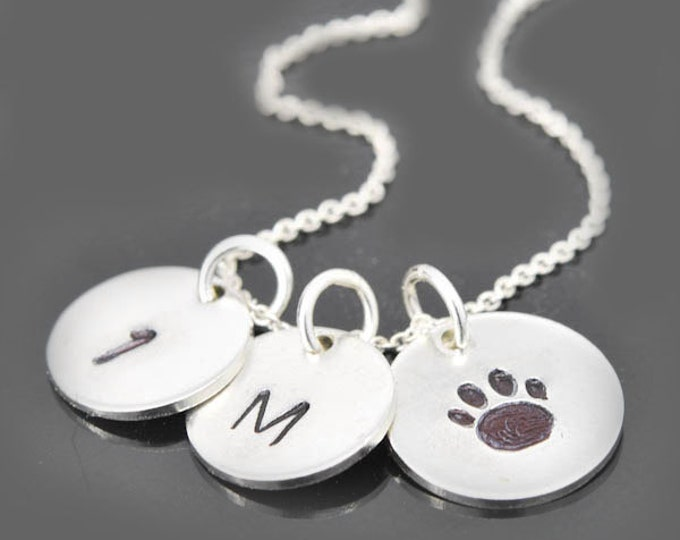 Paw necklace, sterling silver necklace, name necklace, initial necklace, hand paw, feet paw, dog paw, cat paw
