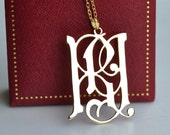 Gold monogram necklace, Gothic monogram pendant