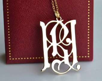man monogram necklace-personalized Antique necklace,Gothic Style handcrafted for Anniversary Gift, Man Gift