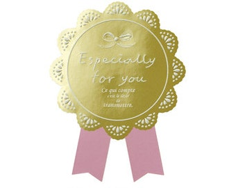 """Pink and Gold ROSETTE Seal Stickers """"Espescially For You"""" DIY Weddings, Favor Seals, Wrapping and Packaging: 9 Pieces"""
