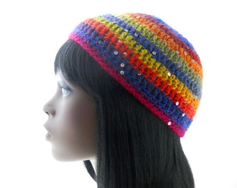 Women's Striped Hat, Wool - Blend Beanie with Sequins, Crochet Kufi Hat, Small to Medium Size