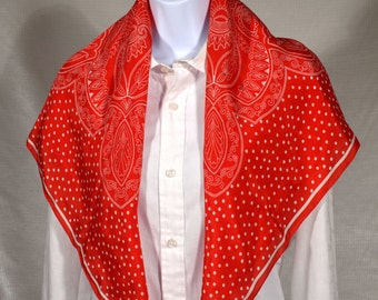 Liz Claiborne Red Silk with polka dots and paisley patterns