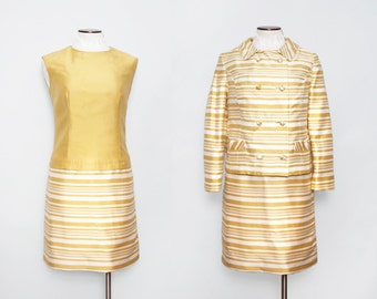 1960s Mod Suit / Vintage 60s Gold Striped Dress with Jacket / Large