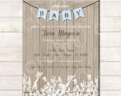 Printable Rustic Baby Shower Invitation (boy) -- sarah O chic -- blue, farmhouse shower, rustic invitation, rustic baby shower