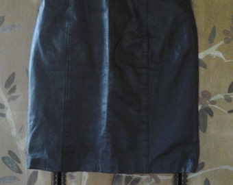 High waist black leather skirt