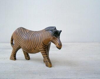 Wild life Zebra Figurine, Collectible wood Animal Sculpture, Safari Zoo Decor, Nursery decor, Gift for Boy, Folk Art Handcarved wooden Zebra