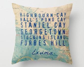 Exuma Bahamas Landmarks Cays Island Map Tropical Home Decor Product Sizes and Pricing via Dropdown Menu