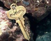 "Hand Stamped Vintage Key ""POWERFUL"" -Jewelry Necklace pendant"