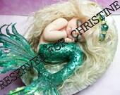 OOAK art doll fantasy mermaid baby polymer clay sculpture fairy  IADR  May birthstone     free shipping