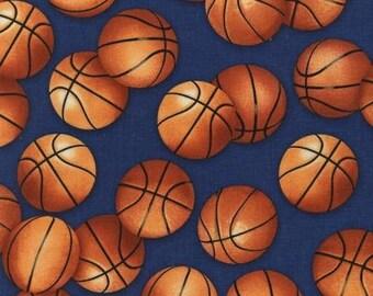 Large Basketballs on Royal Blue From Robert Kaufman