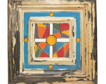 Hand painted vintage colorful geometric tin panel